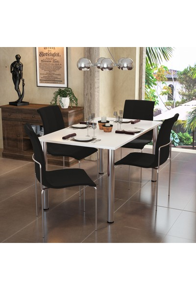 Modi̇layn Meriç Masa Takım Siyah 4 Klas Sandalye Metal Krom