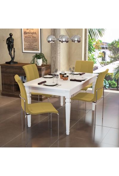 Modi̇layn Flora Yemek Masa Takımı Klas 4 Sandalyeli Sarı