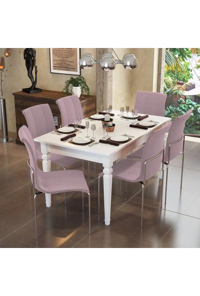 Modi̇layn Flora Yemek Masa Takımı Klas 6 Sandalye Pembe