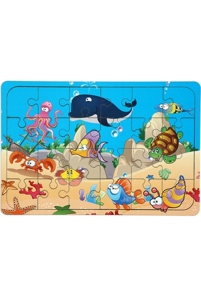Maketçiniz Okyanus Canlıları 24 Parça Ahşap Puzzle