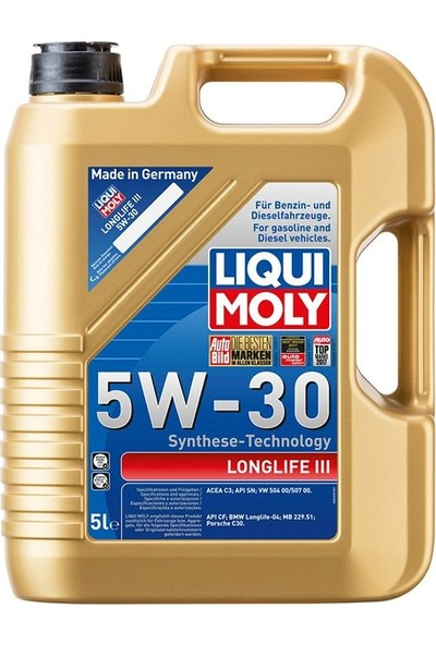 Liqui Moly Longlife 3 5w30 Sentetik Motor Yağı 5 lt.