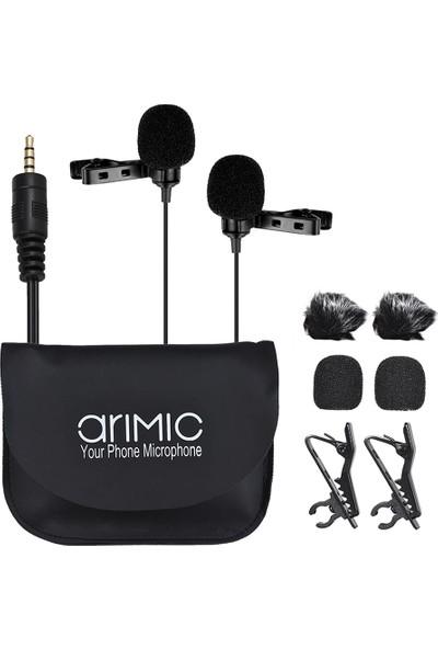 Arimic İkili Kablolu Youtuber Yaka Mikrofonu - 6 Metre