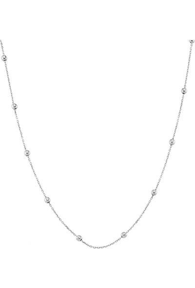 Azuris Alk1598 925 Ayar Gümüş Toplu Zincir Kolye 45 Cm