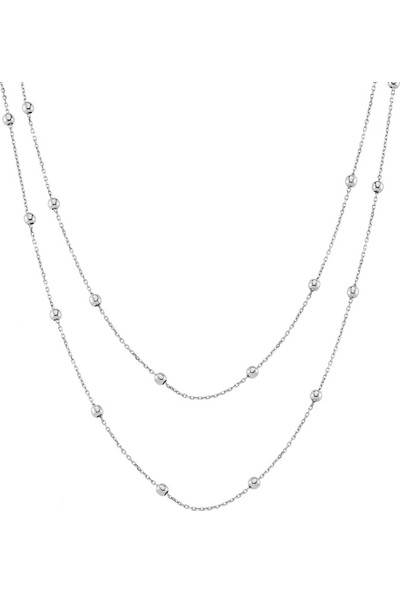Azuris Alk1599 925 Ayar Gümüş Toplu Zincir İkili Kolye 50 Cm