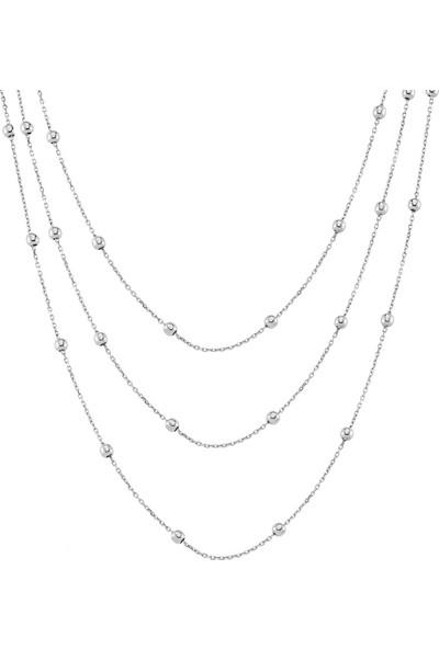 Azuris Alk1600 925 Ayar Gümüş Toplu Zincir Üçlü Kolye 55 Cm