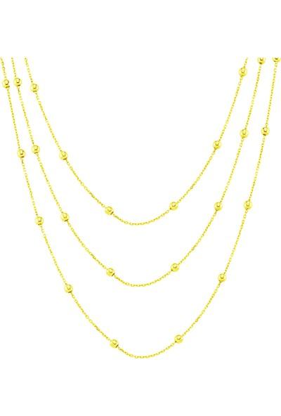 Azuris Alk1603 925 Ayar Gümüş Toplu Zincir Üçlü Kolye 55 Cm