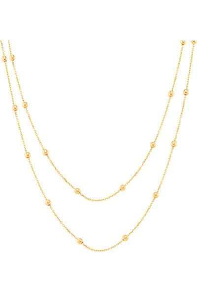 Azuris Alk1605 925 Ayar Gümüş Toplu Zincir İkili Kolye 50 Cm