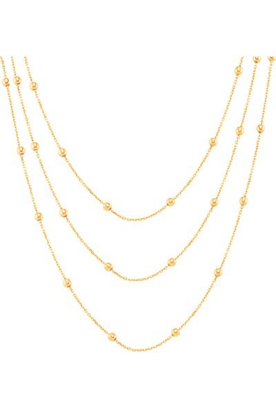 Azuris Alk1606 925 Ayar Gümüş Toplu Zincir Üçlü Kolye 55 Cm