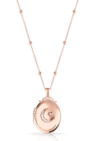 Azuris Omr1354 925 Ayar Gümüş Kapaklı Madalyon Ayyıldız Kolye