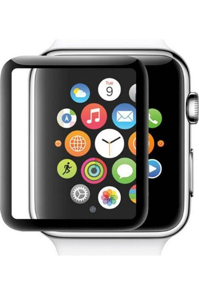 Microcase Apple Watch Series 1 - 2 - 3 42 mm Silikon Çerçeveli Tempered Glass Cam Koruma