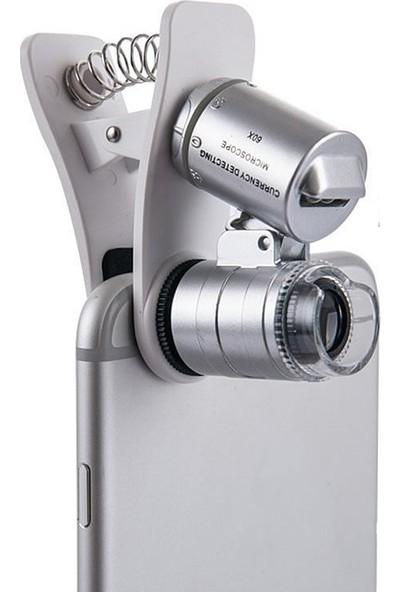 Microcase 60x Mini Cep Telefonu için Mandallı Mikroskop UV Ledli Cam Büyüteç - MMK102