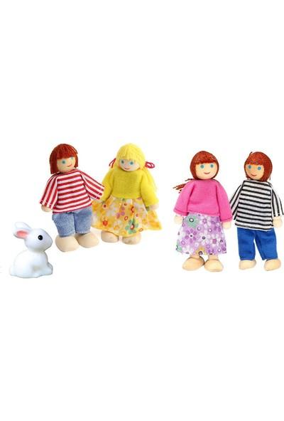 Piramigo 4 Adet Mini Ahşap Dollhouse Aile Bebek Oyuncak Seti Ve Sevimli Tavşan