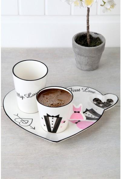 Queen's Kitchen Porselen Lüx 3 Parça Damat Kahve Fincan Takımı
