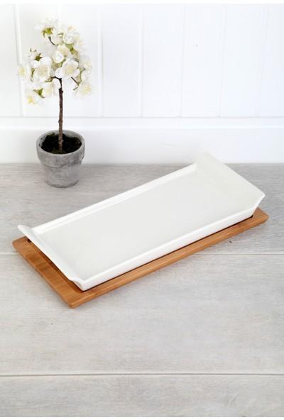 Queen's Kitchen Bambu Standlı Porselen Lüx 30cm Servis