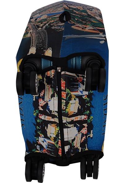 Vk Tasarım 001 Likralı Orta Boy Valiz Kılıfı