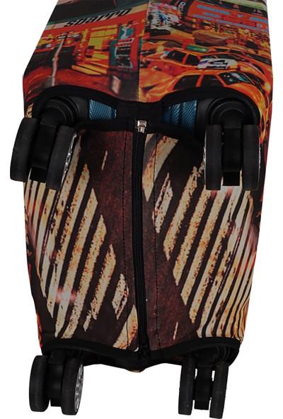 Vk Tasarım 012 Likralı Büyük Boy Valiz Kılıfı