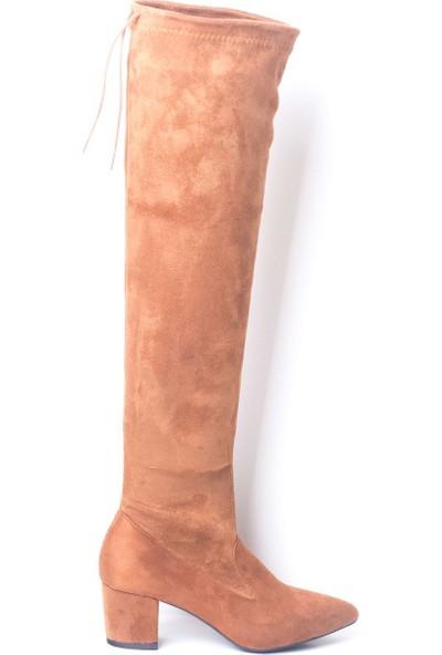 Eşle 8K-04 Kadın Topuklu Çizme Taba Süet