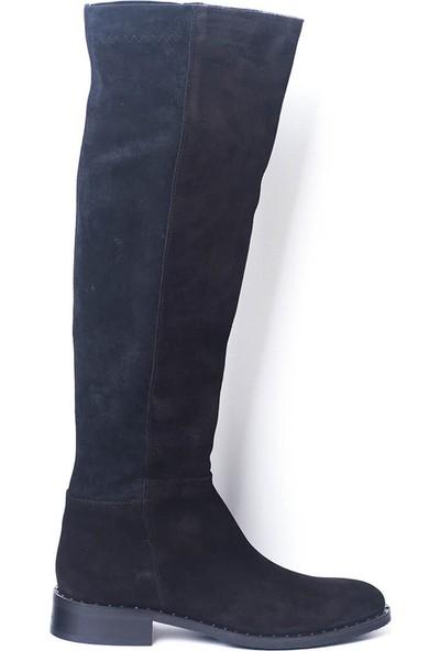 Eşle 8K2163505 Kadın Deri Çizme Siyah Süet