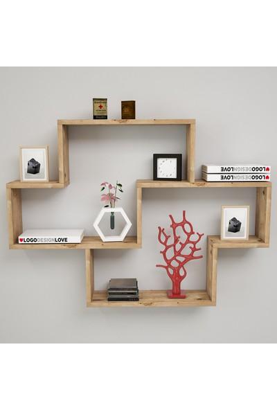 Yurudesign Shelf R8 Modern Duvar Rafı Kitaplık Atlantik Çam