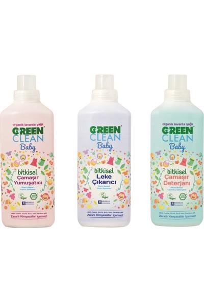 U green Clean Baby Çamaşır Deterjanı 1 lt + Çamaşır Yumuşatıcı 1 lt + Leke Çıkarıcı 1 lt
