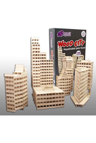 Mor Fil Oyuncak Doğal Ahşap Blok Kendi Hayalindeki Şehri Tasarla Bina Yap (Wood City)