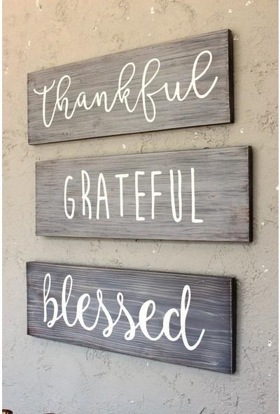 Lamoneta Thankful Grateful Blessed Ağaç Tablo Seti