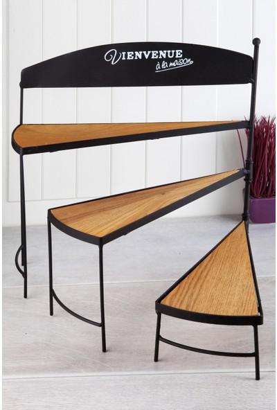 Queen'S Kitchen Ahşap Tabanlı Vintage lüx 3 Katlı Ayarlanabilir Raf Stand