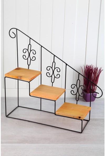 Queen'S Kitchen Ahşap Tabanlı Vintage lüx 3 Katlı Merdiven Raf Stand