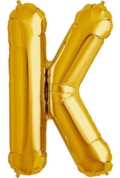 Sevinç 40 İnç K Harfi Gold Folyo Özel Günler Ve Doğum Günleri İçin