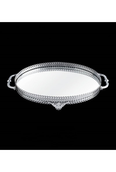 Tay Kristal Dantelli Ayna Tepsi Oval
