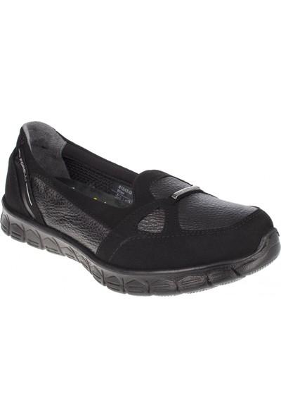 Forelli 61043 Kadın Siyah Deri Comfort Ayakkabı