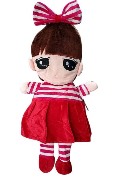 Redpoloshop Anaokulu Peluş Sırt Çantası Fiyonklu Bebek Kırmızı 3-6 Yaş