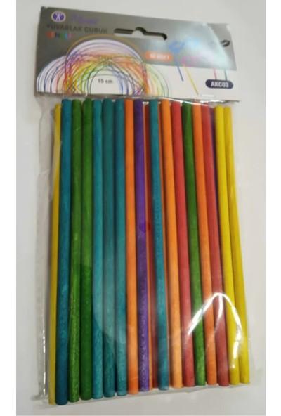 Masis Ahşap Renkli Yuvarlak Çubuk (50'Li)