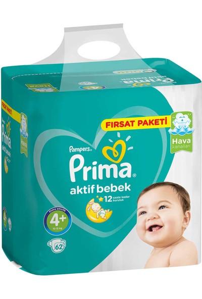 Prima Bebek Bezi 4+ Beden 62 Adet + Islak Mendil