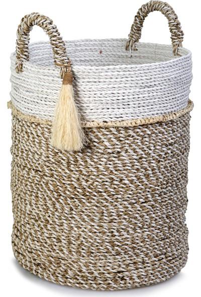 Kance Ev Seagrass Hasır Püsküllü Yuvarlak Derin Sepet Beyaz Natürel Büyük