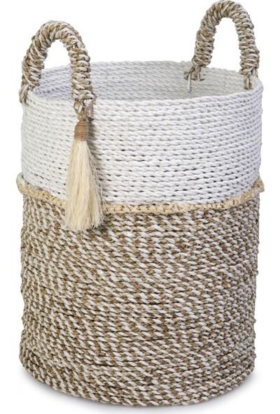 Kance Ev Seagrass Hasır Püsküllü Yuvarlak Derin Sepet Beyaz Natürel Orta