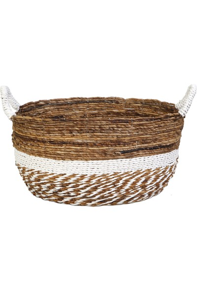 Kance Ev Muz Kabuğu Saplı Oval Sepet Koyu Kahve Beyaz Büyük