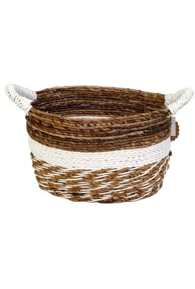 Kance Ev Muz Kabuğu Saplı Oval Sepet Koyu Kahve Beyaz Küçük