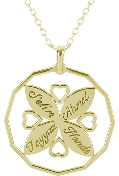 Glorria Kişiye Özel 4 İsimli Kalp Gümüş Kolye Glr654-31857