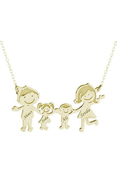 Glorria Kişiye Özel İsimli Aile Gümüş Kolye Glr707-32137