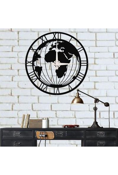 Dekadron Dünya Haritalı Metal Duvar Saati Metal
