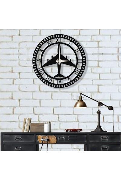 Dekadron Savaş Uçağı Metal Duvar Saati Metal