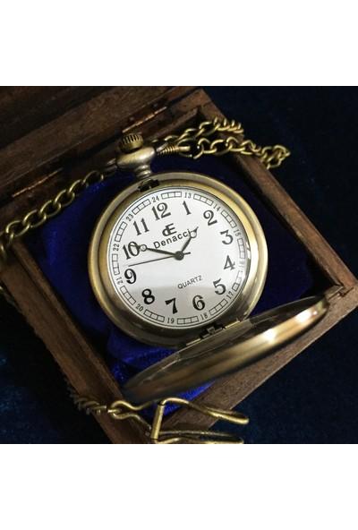 Kuzey Caddesi Kişiye Özel İsim Yazılı Vintage Köstekli Cep Saati Ahşap Kutulu