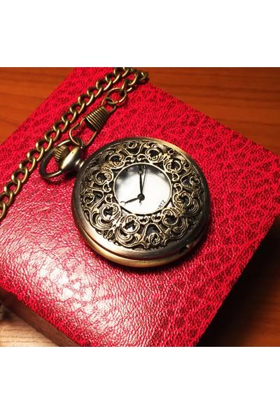 Kuzey Caddesi Köstekli Vintage Cep Saati Klasik Ferforje Desenli
