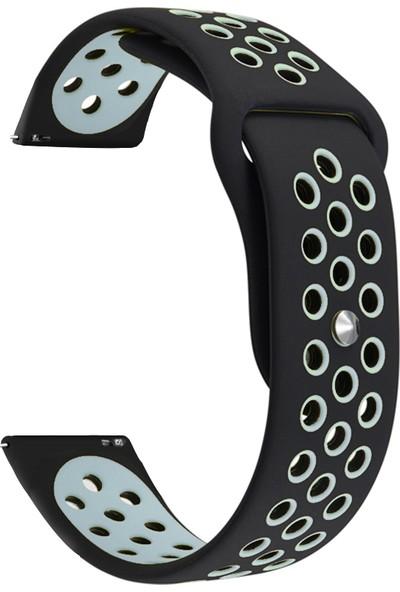 Markacase Samsung Galaxy Watch İçin 46 mm Siyah Gri Spor Delikli Kordon