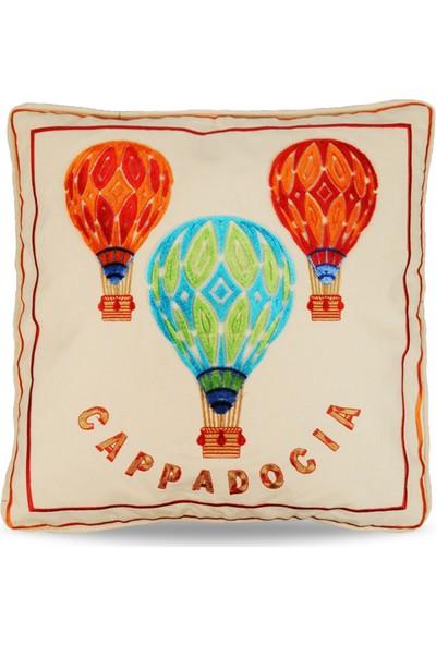 Kapadokya Tafting Nakışlı Dekoratif Yastık Kılıfı