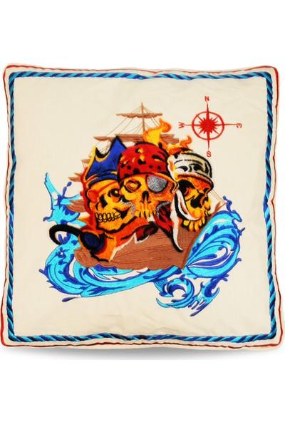 Korsan Tafting Nakışlı Dekoratif Yastık Kılıfı