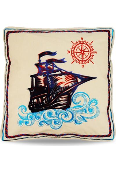 Gemi Tafting Nakışlı Dekoratif Yastık Kılıfı