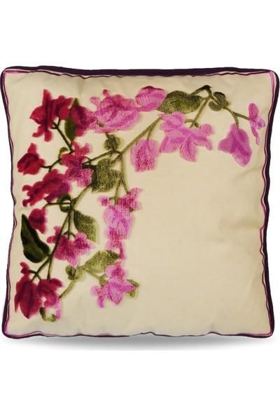 Çiçekli Tafting Nakışlı Dekoratif Yastık Kılıfı