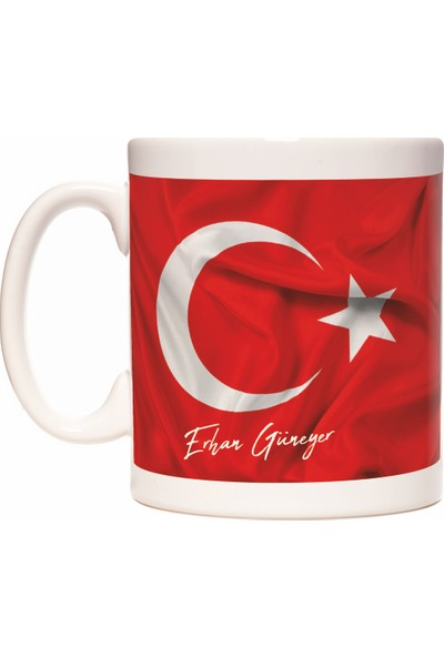 Türk Bayrağı Bayrak Temalı İsim Yazılabilir Kişiye Özel Kupa Bardak